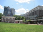 Independence Hall on left, Liberty Bell building on right