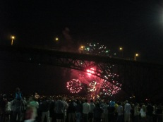 Fireworks on Fremont Bridge