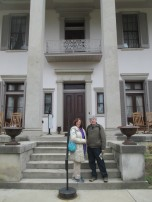 in front of the mansion