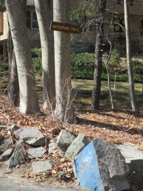 Brook Road entrance - look for blue rock