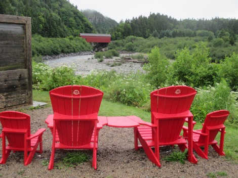 red chairs at Point Wolfe covered bridge