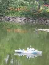 ship model in pond