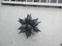 above a Frank Stella sculpture