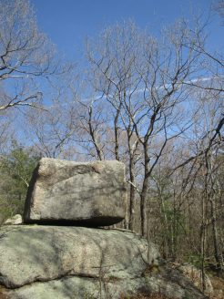 rocks, vapor trail, blue sky